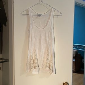 White Flowy American Eagle Tank Top with Lace
